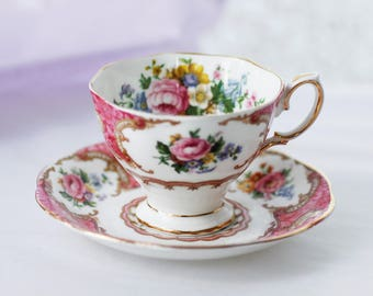 """Sweet pink Royal Albert's """"Lady Carlyle"""" teacup and saucer adorable pink scenery malvern shape 
