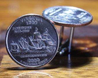 Virginia Quarter Cufflinks, Virginia Cufflinks, Virginia State Quarter Cufflinks, Coin Cuff links