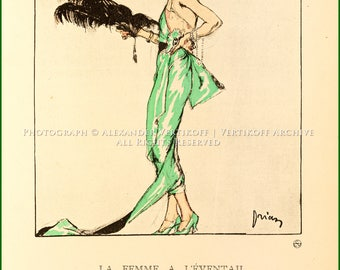 La Femme a l'Eventail - Robe du soir, de Worth_plate 67 from Gazette du Bon Ton, Volume 2, No. 9