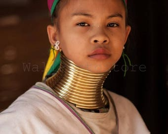Myanmar Photography, Padaung Girl with Neck Rings, Travel Photography, Girl Portrait, Fine Art Photography, Print Photography, Vertical Art