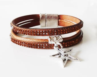 Brown bracelet with Rhinestones and star - rhinestone Bracelet - Brown jewelry charm-