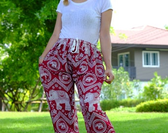 Hippie pants harem pants elephant pants cozy pants boho pants Red Unisex