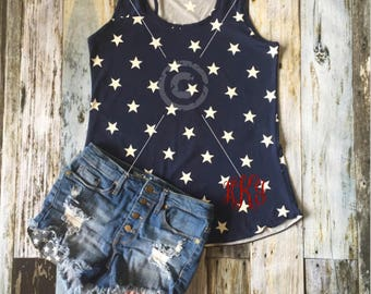 BLANK SALE****Ladies 4th of July USA Navy Star Racerback Monogram Tank Top