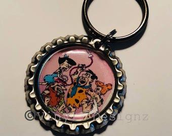 Flintstones Zombie Bottle Cap Key Chain