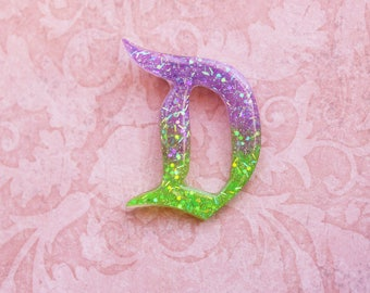 Princess Ariel Ombre Disney D Brooch  - Disneybound Classic Disney D Pin - Lavender and Lime Gree Disney D Brooch - Disney D Brooch