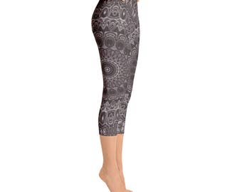 Capris - Brown Printed Leggings for Yoga and Fashion, Womens Leggings, Workout Stretch Pants