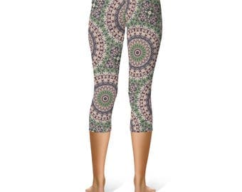 Capri Yoga Pants - Victorian Inspired Abstract Art Leggings, Fashion Leggings