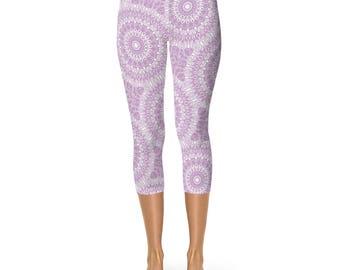 Leggings Capris Lilac, Lavender Leggings, Purple and White Yoga Pants, Yoga Clothes