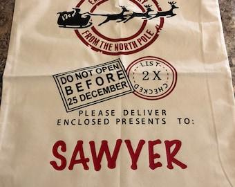 Santa Sack - Personalized Santa Sack - Christmas Santa Bag - Custom Santa Sack - Canvas Santa Bag - Christmas Sack - Santa Gift Sack