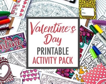 Valentine Coloring Bundle: Valentine's Day coloring pages, valentine cards, valentine gift tags, bookmarks, + craft templates. Printable PDF