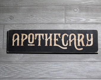 APOTHECARY Sign   Large Carved 3-D Wooden Sign   Vintage Style Medicine Drugs Potions