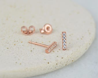 Little Geometric CZ Gemstone Bar Stud Earrings - Sterling Silver 925, Rose Gold Overlay.