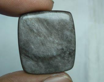 Fabulous Silver obsidian cushion shape cabachone loose gemstone 39.0cts 28x25x4mm
