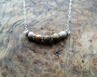 Brown lava beads pendant necklace - silver chain