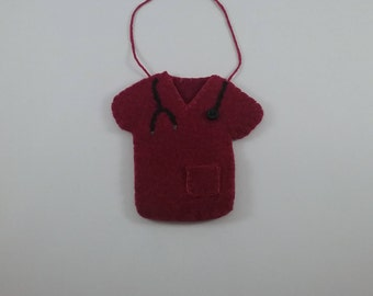 Scrub Shirt / burgundy/accent/ornament/hand stitched