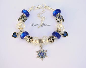 Deep Blue Snowflake European Charm Bracelet with Glass Beads, Heart and Charms