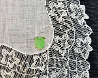 Wedding Lace Handkerchief, Vintage 1920's Flower Cotton Lace Pure Linen, Lady's Hanky, White Lace Linen, Antique Lace, Something Old