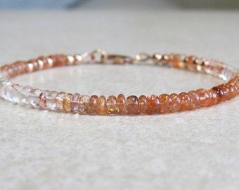 Oregon Sunstone & Rose Gold Filled Bracelet