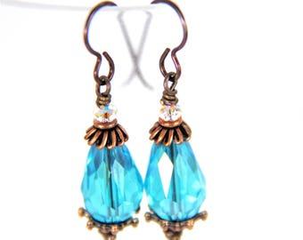 Turquoise and Bronze Earrings, Niobium Turquoise Earrings, Earrings with Niobium Wires, Simple Turquoise Earrings