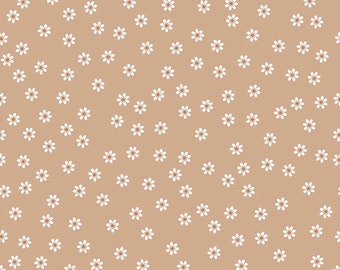 Sew Cherry 2 - Per Yd - Riley Blake - by Lori Holt - White flowers or daisies on Nutmeg