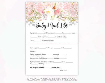 Pink Blush Floral Baby Shower Baby Mad Libs Printable Baby Shower Game Watercolor Floral, Pink Floral, Baby Girl Theme bbs003
