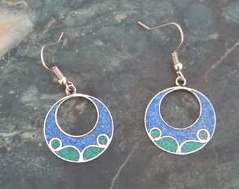Mexico Alpaca Silver Vintage Dangle Earrings Crushed Blue Green Stone Inlay C20