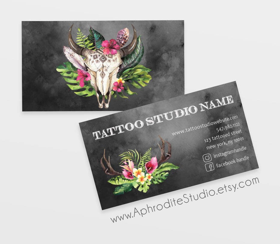tattoo business cards skull business cards printable business cards edgy business cards