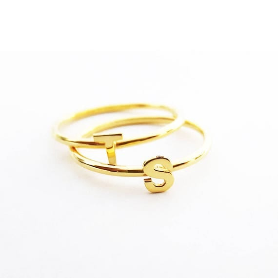 letter a gold ring gold stackable initial ring personalized ring letter ring 17510 | il 570xN.1462678739 13t5