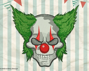 Jokers Skull embroidery design - downloadable - 3 sizes