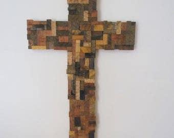 """Rustic Wood Cross, 29"""",Church Cross, Reclaimed Wood Cross, Christian Decor, Large Wall Cross, Sanctuary Cross, Wooden Cross, Christian Cross"""