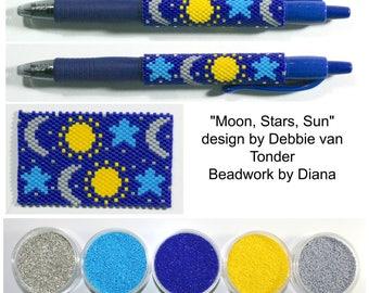 Moon, Stars, Sun by Debbie van Tonder beaded pen kit (pattern sold separately)