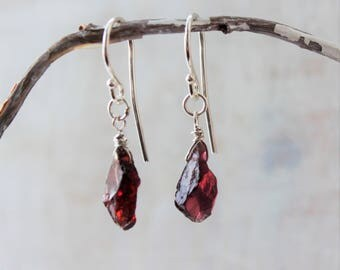 Raw January Birthstone Jewelry, Raw Garnet Earrings Rose Gold Filled, Silver, Gold Filled, Raw January Birthstone Gift Raw Red Stone Jewelry