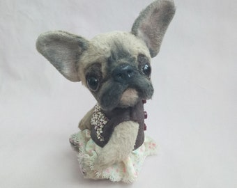 Teddy French Bulldog Toy dog by photo Teddy dog Toffee 4.7 ih French Bulldog girl Artist teddy bear Dog handmade Portrait dog Gift for her
