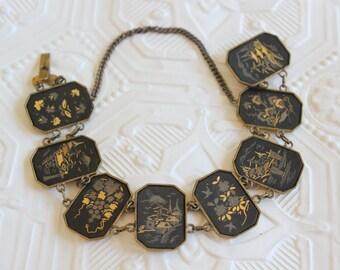 Antique Japanese Damascene Shakudo Panel Bracelet Gold Tone