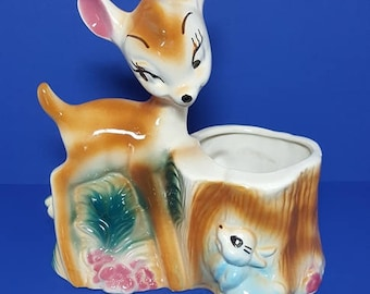 "Vintage ""Bambi and Thumper"" Walt Disney Ceramic Planter 1950's"
