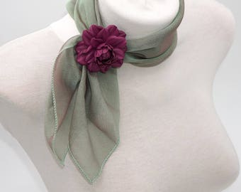 GENUINE LEATHER  neckerchief  flower, neckerchief rose, neck small scarf rose, neckerchief slider, neckerchief holder