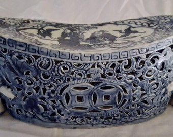 Chinese Qianlong Period Blue & White Reticulated Porcelain Pillow