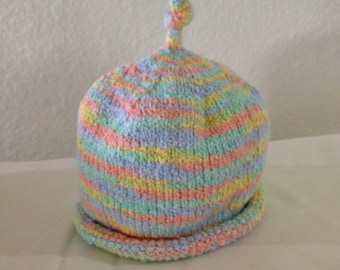 Baby Hat Hand Knit Multi Color