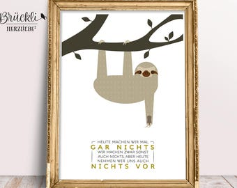 "A4 wall poster, art print / poster ""Sloth"""