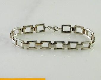 """Square Link Sterling Bracelet 7 5/8"""""""
