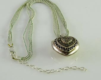 """Sterling Marcasite Heart Locket on a Triple Strand Sterling Chain 16""""- 18 1/2"""""""