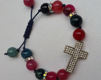 Cross bracelet, agate bracelet, silver cross bracelet, crucifix bracelet, adjustable bracelet, pink and blue bracelet