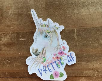 Unicorn die cut. Pretty AF die cut or die cut sticker. Perfect for decorating a scrapbook, school notebook, planner, or travelers notebook.