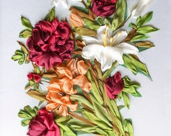 SALE Silk ribbon embroidery Lilies and peonies - full kit