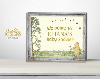 Winnie the Pooh Printable Sign, Classic Winnie the Pooh Printable Welcome Sign, Winnie the Pooh Personalized Printable Sign