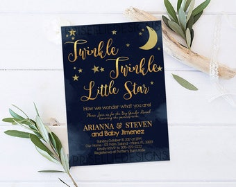 Twinkle Twinkle Little Star Gender Reveal Invitation, Twinkle Twinkle Little Star Gender Reveal Party Invitation, Gender Reveal Invitation