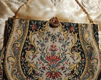 Tapestry bag with gold chain handle and gold and ruby catch, made in France
