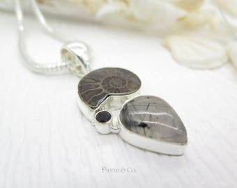 Tourmalated Quartz Ammonite Fossil and Smoky Topaz Sterling Silver Pendant and Chain