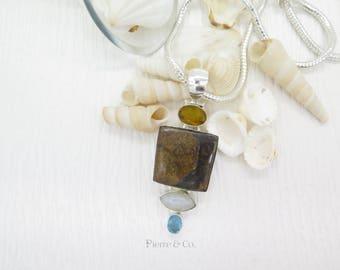 Dinasore Bone Citrine Moonstone Blue Topaz Sterling Silver Pendant and Chain