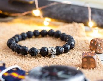8mm - Mens bracelet, Black lava stone beaded silver skull stretchy bracelet, made to order bracelet, mens bead bracelet, womens bracelet